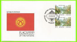 Kirghizstan 1992 3 FDC Drapeaux Protection De La Nature Faisan Réserve Sary-Chelek - Kirghizistan