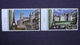UNO-Wien 467/8 Oo/ESST, UNESCO-Welterbe: Frankreich: Festungsstadt Carcassonne, Schloss Chambord - Wien - Internationales Zentrum