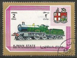 AJMAN - 2 Timbres De 1972 - Oblit - Trains