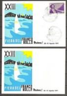 1971 Italia Italy Repubblica XXIII FIERA DEL FRANCOBOLLO RICCIONE 2 Cartoline Viaggiate Bologna Annullo Speciale - 1971-80: Storia Postale