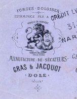 GRAS & JACQUOT  Manufacture Sécateurs  Forges Doloises DOLE (Jura)  Illustration Lion Héraldique 1882 - Lettres De Change