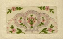 CARTE BRODEE -  Fleurs Roses - Brodées