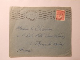 Marcophilie - Lettre Enveloppe Cachet Oblitération Timbres - LYON GUILLOTIERE - N°625 Seul - 1945 (447) - Postmark Collection (Covers)