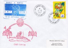 CHASSEUR DE MINES  CMT ORION ESCALE A NANTES 19/9/1997 TIMBRE FOOTBALL COUPE DU MONDE 98 - Marcophilie (Lettres)