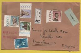 Luxemburg / Einschreiben Von Luxemburg Nach Barcelona (Spanien) Von 1968 - Mischfrankatur U.a. Caritas 1967 - Brieven En Documenten