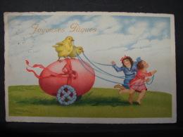 CT. 425. Jeunes Filles Tirant Un Oeuf De Pâques Avec Deux Poussins - Pâques