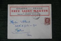 Enveloppe  Publicitaire , SAINT JUNIEN, CHASSE Et PECHE, FAYE SAINT MARTIN, 26 Rue Lucien DUMAS. - Lettres & Documents