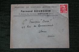 Enveloppe Timbrée Publicitaire, MONTLUCON, Peinture De Voitures Automobiles Fernand BOURGOIN - Lettres & Documents