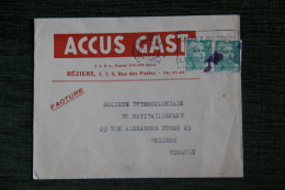 Enveloppe Timbrée Publicitaire, BEZIERS, ACCUS GAST - Lettres & Documents