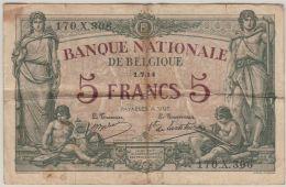 B00433  5 FRANCS  BABAU DE LANTSHEERE - 1-7-14  - B/TB - [ 2] 1831-... : Royaume De Belgique