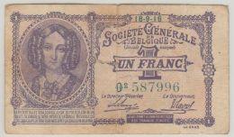 B00435  UN FRANC  -  SOCIETE GENERALE - 18-9-16 - [ 3] German Occupation Of Belgium