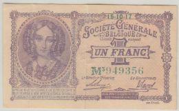 B00436  UN FRANC  -  SOCIETE GENERALE - 15-10-17 - TB - [ 3] Occupazioni Tedesche Del Belgio