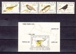 Caicos Islands 1985,4V+Block,Audubon,birds,vogels,vögel,oiseaux,pajaros,uccelli,aves,MNH/Postfris(L2372) - Vogels