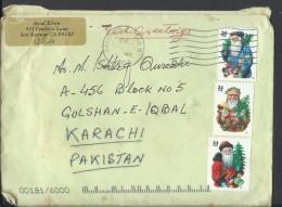 USA Airmail 2001 34c Christmas Santa Postal History Cover Sent To Pakistan. - United States