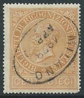 1874 REGNO USATO RICOGNIZIONE POSTALE 10 CENT - U27-10 - Servizi