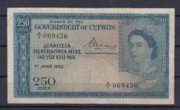 0222 BILLETE CIPRUS 250 MILS AÑO 1955 CIRCULADO - Chipre