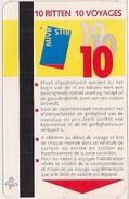 STIB - MIVB - BRUXELLES Et ENVIRONS - CARTE  DE 10 VOYAGES (290 Francs Belges) - Métro Et Bus  - 9485684. - Métro
