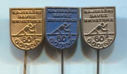 Rowing, Kayak, Canoe - Federation, Croatia (in Yugoslavia), Anniversary, Vintage Pin, Badge, 3 Pieces - Canoeing, Kayak
