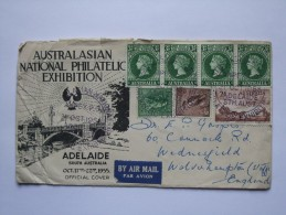 AUSTRALIA 1955 AUSTRALASIAN NATIONAL PHILATELIC EXHIBITION COVER ANPEX  HAND STAMP AIR MAIL TO UK WITH ANPEX CINDERELLAS - Storia Postale