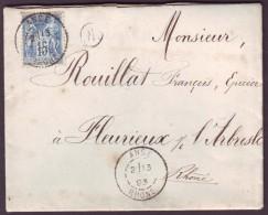 """RHONE - LAC - Tàd T84 Anse Sur N° 101 + BR """"K """" (Alix, Identifiée) Pour Fleurieux (68) - Marcophilie (Lettres)"""