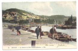 CPA Colorisée Rouen Seine Maritime Côte Sainte Catherine Péniches Benjamin Attelage Cheval édit LL N°89 - Rouen