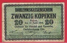 Lituanie  --  Occ Allemande --   20 Kopeken  17/04/1916 - Lituanie