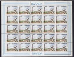 Rwanda**SPACE-SATELLITE ANTENNA-1986-SHEET 25vals@40Francs-Cat 45$/40€-Feuille 25 Timbres-Vel 25zegels-Bogen 25Marken Ru - Rwanda
