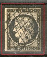 N°3b°_oblitération Grille Et PC_chamois Clair_bien Margé_cote 200.00+ - 1849-1850 Cérès