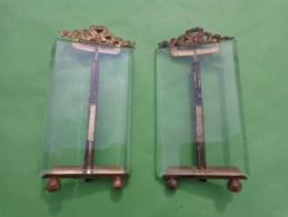 2 Cadre Photo Sur Pied En Verre Bissoté  Et Bronze 7 Par 12 Cm Fronton Louis XVI RUBAN - Popular Art