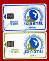 "SENEGAL: SEN-13b & 14b 2 Cards 40 & 120 Units ""Logo - Reverse B"" Used"
