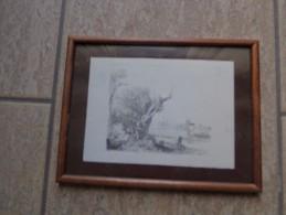 Oude Litho Man Met Hoed Naast Oude Bomen Voor Rivier Met Boten En Molen - Lithographies