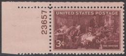 !a! USA Sc# 0949 MNH SINGLE From Upper Left Corner W/ Plate-# (23657) - Doctor's Association - United States