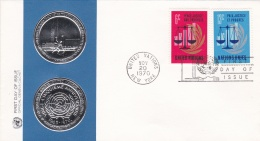 United Nations New York FDC 1970 Peace, Justice And Progress (G66-4A) - New York - Sede Centrale Delle NU