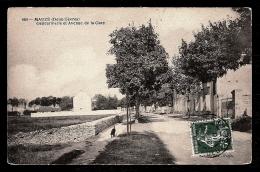 CPA ANCIENNE- MAUZÉ (79)- GENDARMERIE ET AVENUE DE LA GARE EN ÉTÉ - Mauze Sur Le Mignon