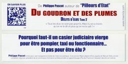 Marque-page - Du Goudron Et Des Plumes (Délits D'élus Tome 2), Par Philippe Pascot - Lesezeichen