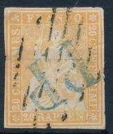 25B 20 Rappen Strubel Klares Blaues PP Und Leichte Luzernerraute, Weissrandig Mit ATTEST: Von Der Weid - 1854-1862 Helvetia (Non-dentelés)