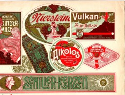 Affiche Chromo Plakat Env. 29 X 21 Cm, Vulkan Zündhölzer, Wein, Schiller .Ruhla, Dohna, Dresden, Allemagne Deutschland - Chromos