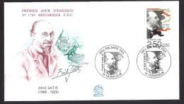 Env Fdc France 11/4/92 Honfleur, Musiciens, érik Satie, Sacré Coeur, Chat Sur Les Toits - 1990-1999