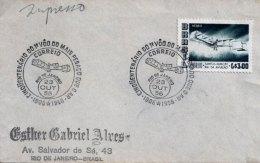 LSJP BRAZIL COVER  SEAL 14 BIS SANTOS DUMONT AVIATION 1956 - Brazil