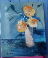 Huile Sur Toile Signée Bouquet De Fleurs Oranges 33 Cm X 41 Cm - Huiles