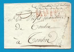 """Cursive """"Ministère De L´intérieur"""". DOcument Pour Toulon - Marcophilie (Lettres)"""