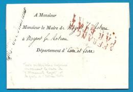 """Cursive """"Ministère De L´intérieur"""". LAC Pour Nogent Le Rotrou. Vente De L'Almanach Royal. - Marcophilie (Lettres)"""