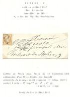 Paris - Bureau De Quartier C. Lettre Locale - 1849-1876: Période Classique