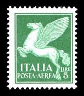 ITALIA REGNO 1930 1932 Posta Aerea Soggetti Allegorici Lire 5 Integro MNH ** - 1900-44 Victor Emmanuel III.