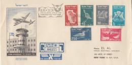 Enveloppe  Recommandée   FDC  ISRAEL   1er  Vol   LYDDA - NEW YORK   1950 - FDC