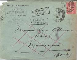 Lettre De Mont De Marsan De 1929 Avec Retour à L' Envoyeur  Et Parti Sans Laissés D'Adresse Le Facteur . - Marcophilie (Lettres)