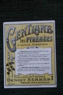 """ETIQUETTE """" GENTIANE Des PYRENEES """" - Benoit SERRES - TOULOUSE - Labels"""
