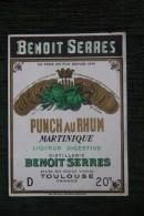 """ETIQUETTE """" PUNCH AU RUHM """",Distillerie Benoit SERRES, TOULOUSE. - Rhum"""
