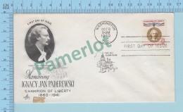 USA FDC PPJ - Cachet :I Honoring Ignacy Jan Paderewski Pianist  Cover Washington 1960 Dc On A USA 8¢  -2 Scans - Musique
