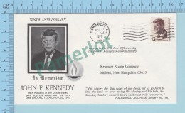 USA 1970 - Ninth Anniversary In Memoriam John F. Kennedy  Cover Cambridge 1972 MA.  On USA 13¢ -2 Scans - Enveloppes évenementielles